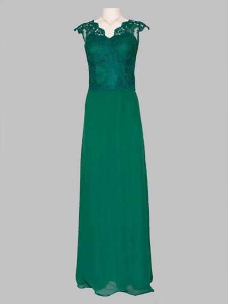 Kleid in grün mit Spitze